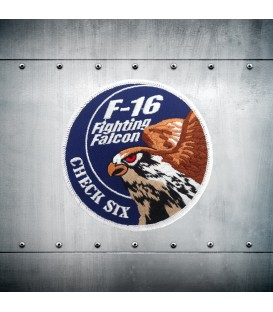 F-16 CHECK SIX blue embroidery patch
