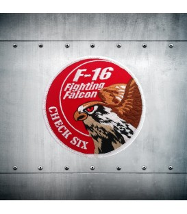 F-16 CHECK SIX red embroidery patch